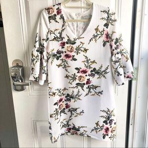 Belongsci white & pink floral women's dress XS
